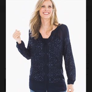 Navy Blue Sequined Sheer Tunic Top, Chico's 2